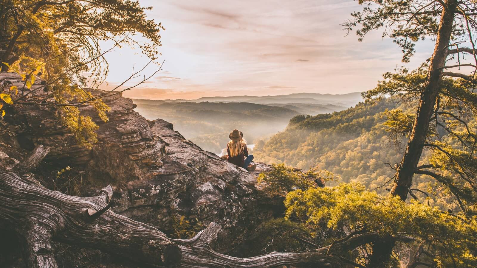 Sitting by a cliff