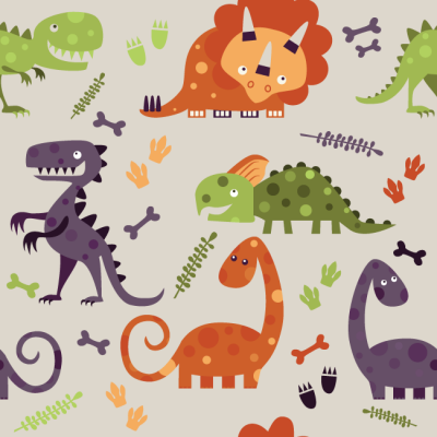 Dino and Bones Triceratops Trex wallpaper removes easy is child safe washable rugged with strong adhesive mural apartment